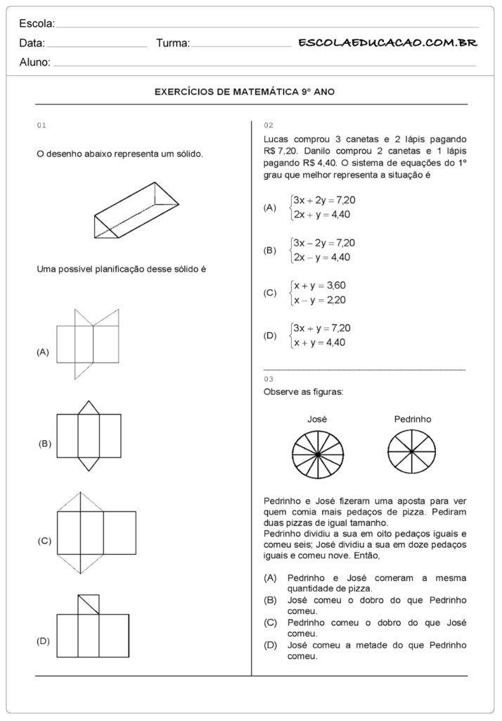 Pin Em Escola Matematica 9º Ano