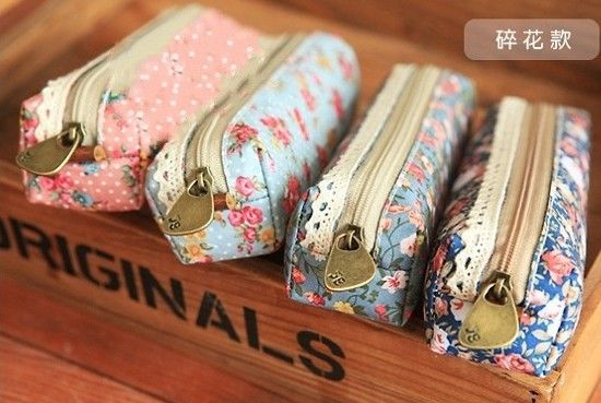 New vintage dots flower lace series pencil bag/pencil pouch/pen bag/cotton bag/wholesale/Free shipping