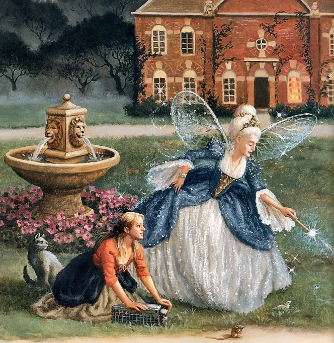 """Cinderella with Her Fairy Godmother"", by American artist and illustrator - Ruth Sanderson (1951 - )"