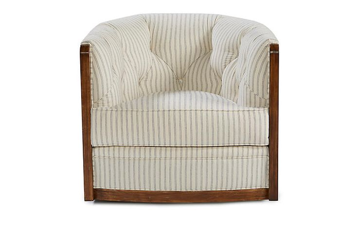 Evertt Swivel Barrel Chair, Ivory/Indigo $2,295.00