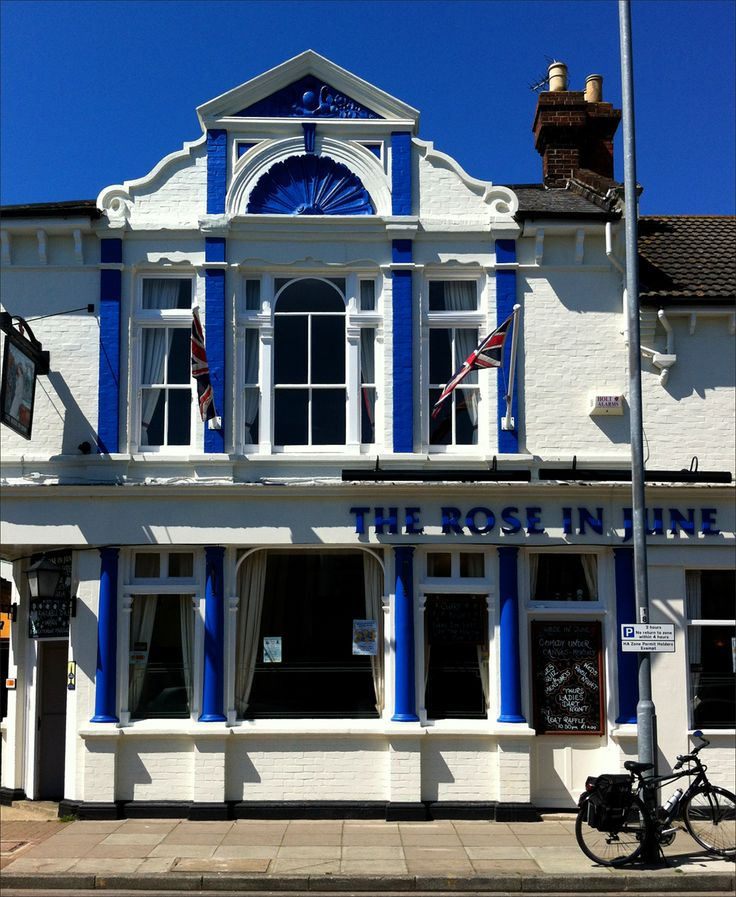 The Rose in June. 19th Century pub with large beer garden.