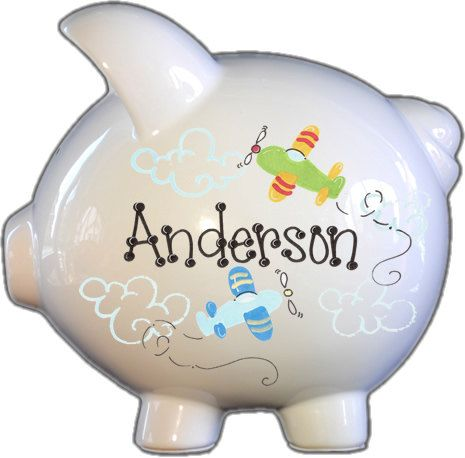 Hand-painted Ceramic Large Piggy Bank with Airplane Design- Add name for Free and birth information. FREE SHIPPING on Etsy, $32.99