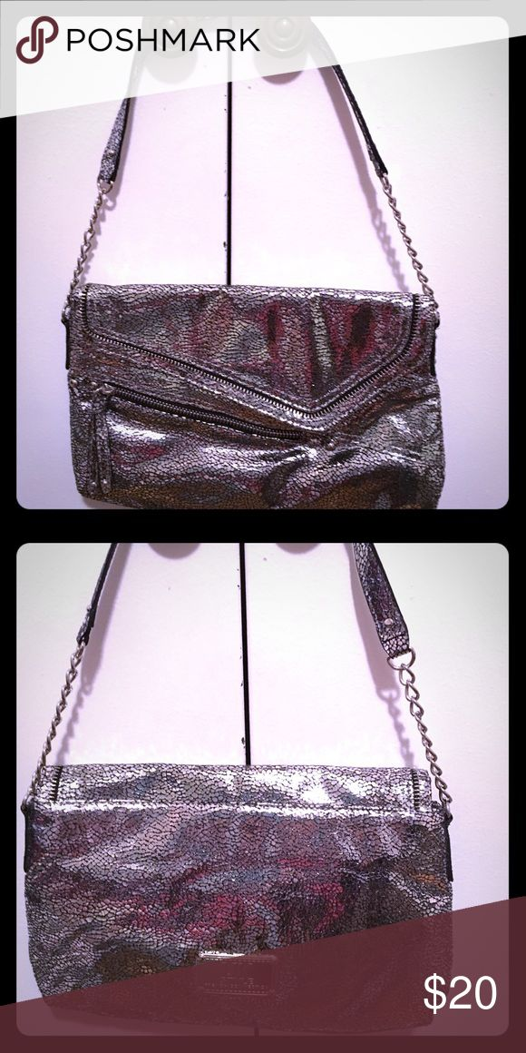 Sparkling silver purse with chain accents Glamorous French Connection UK purse with chain accented short strap, longer strap included inside. Zipper detail on front, logo detail on back. French Connection Bags Mini Bags