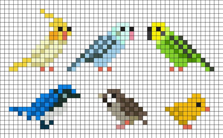 Birds Perler Bead Pattern - tiny birds that are good for gift tags