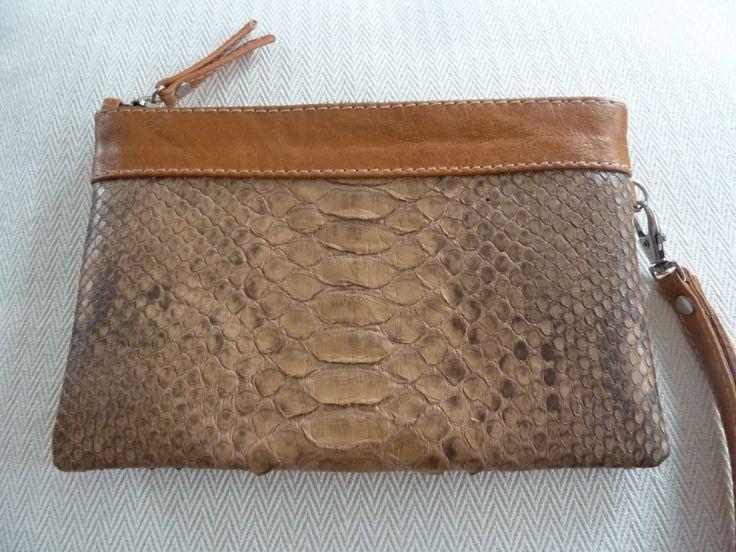 Stylish Brown Python Skin Wristlet -Brown Python Clutch- Brown Python Skin Wallet-Women Wallet-Fashion Wallet-Wristlet Clutch by amezti on Etsy