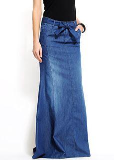 Love the bow detail on this long denim skirt