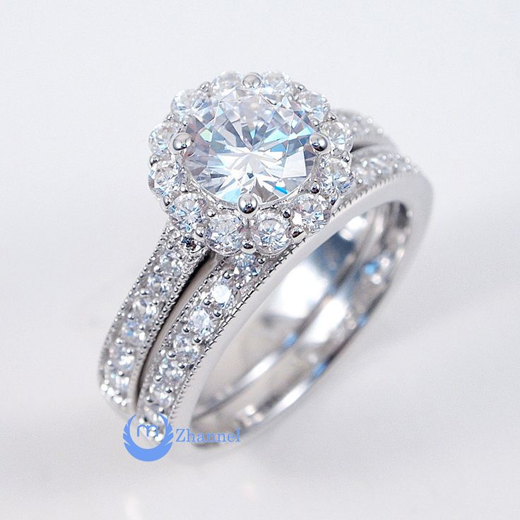 4ct Engagement Wedding Set Pair 2 RINGS Signity CZ Pave Set Sterling Silver Gold