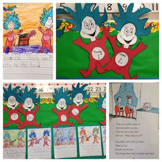 Thing 1 and thing 2 craft and writing assignment apples for Dr seuss crafts for preschool