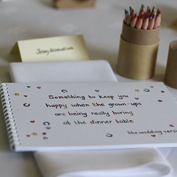 Reminder to keep the kids entertained. maybe a table where they can pick books, crayons, etc.  Children's Wedding Activity Book
