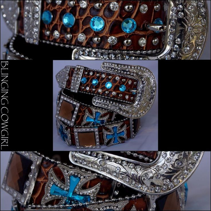 Ladies Western Leather Bling Belt with Rhinestone Conchos Silver Buckle S-M-L-XL