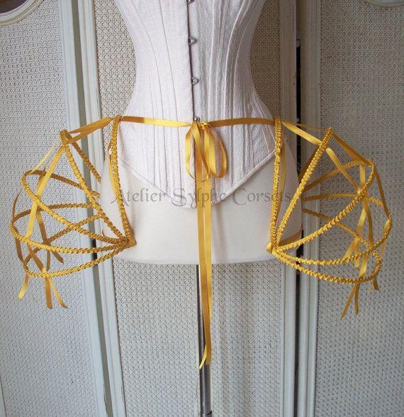 gold ribbon Crinoline hoop skirt panier $119
