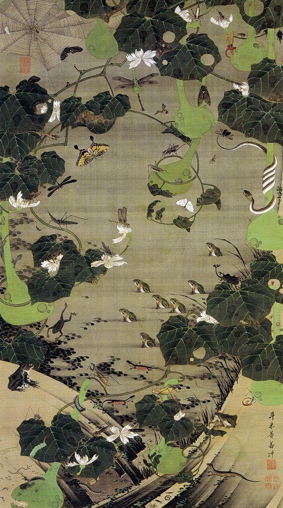 Ito Jakuchu 動植綵絵 Doshoku Sai-e Title:池辺群虫図 Chihen Gunchu-zu(Insects at a Pond) c 1761 - 1765