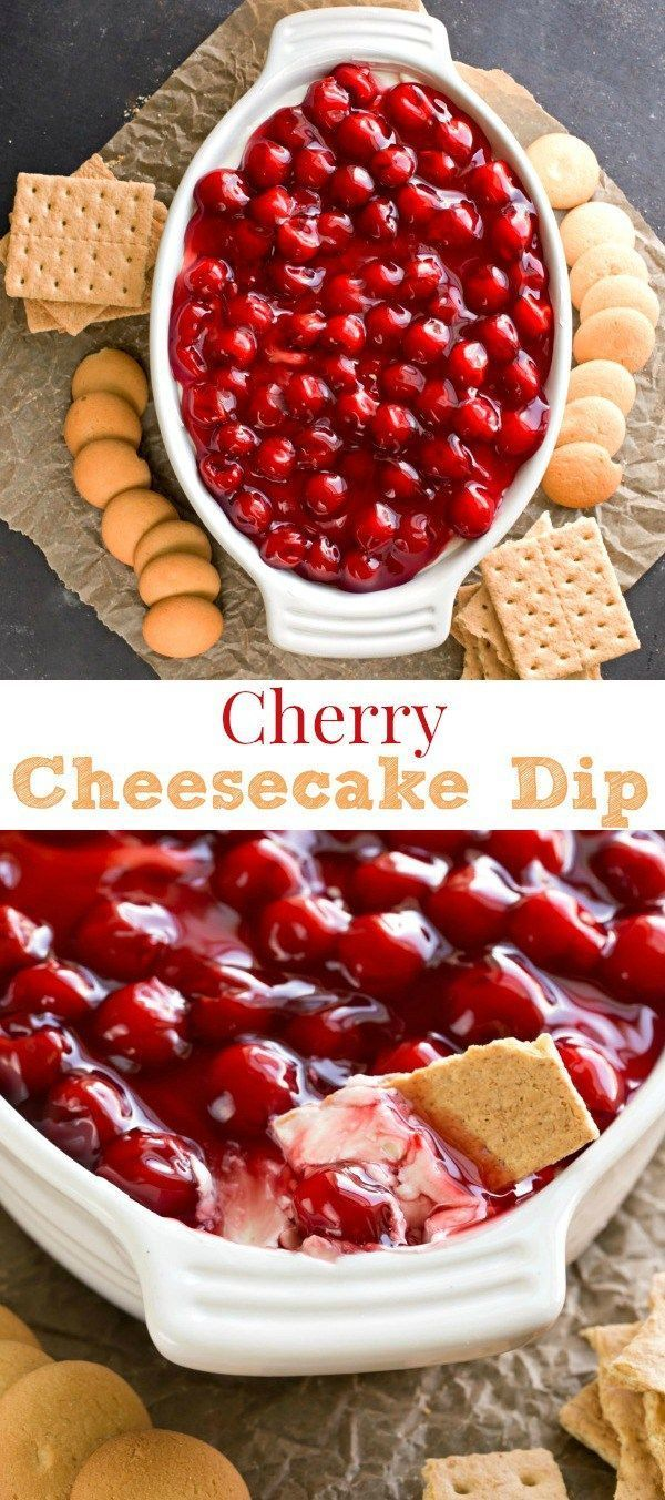 Cherry Cheesecake Dip - easy dessert dip or appetizer dip recipe that's always a crowd pleaser!