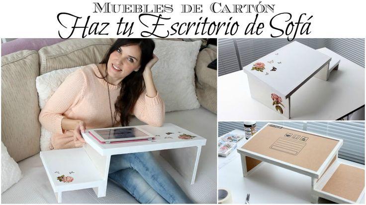Muebles de Cartón | Como hacer un Escritorio de Sofá de Cartón .... Aquí tienes la lista de los materiales, las instrucciones y medidas para poder hacerlo: http://www.contolstyle.com/muebles-de...