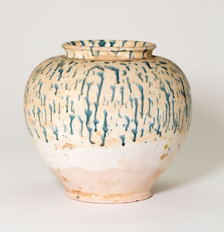 Globular Jar, Tang dynasty (618–906), first half of 8th century. Slip-coated earthenware with blue streaks. H. 19.0 cm (7 1/2 in.); diam. 21.0 cm (8 1/4 in.). Lucy Maud Buckingham Collection, 1924....