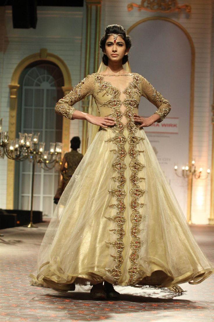 Model walks the ramp for Mandira Wirk at Aamby Valley India Bridal Fashion Week. (Photo: IANS)
