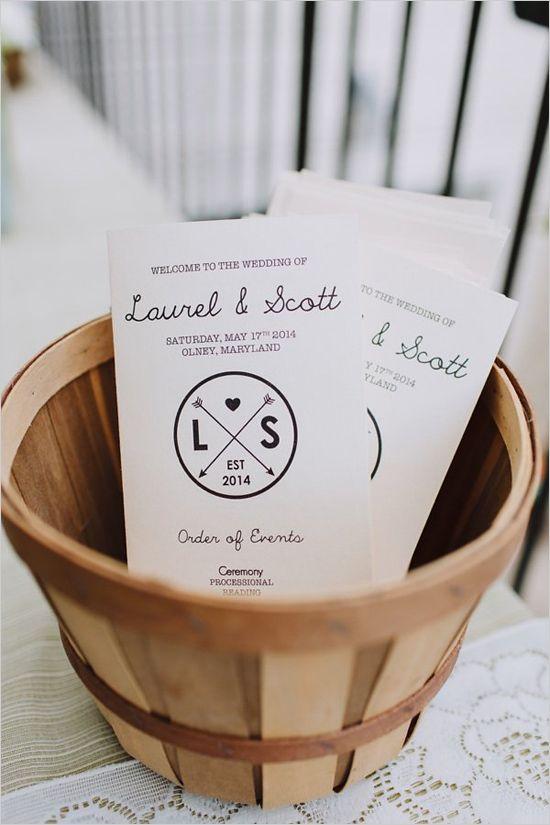 cute wedding stationery   custom monogram   wedding program ideas   #weddingchicks