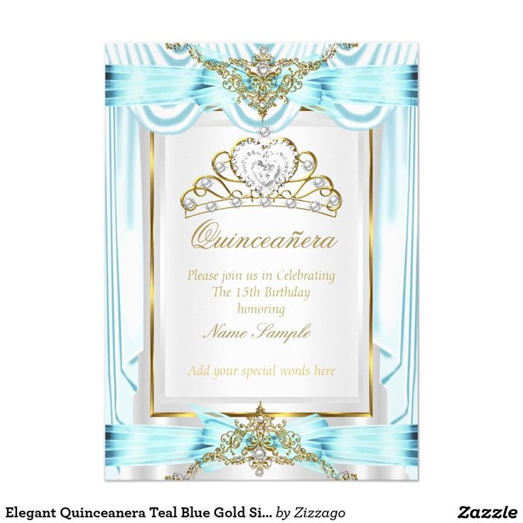 Elegant Quinceanera Teal Blue Gold Silver White Card ...