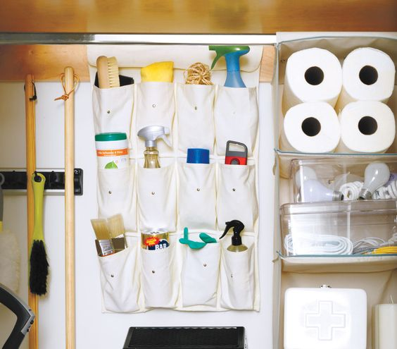 Use A Hanging Shoe Rack To Store Cleaning Supplies No