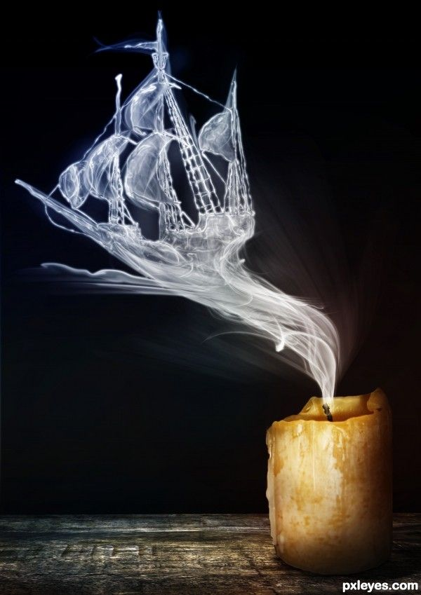 Pirates.  Cool Pirate Ship smoke from Candle! For Wick'd Aromas: http://studio3b.etsy.com