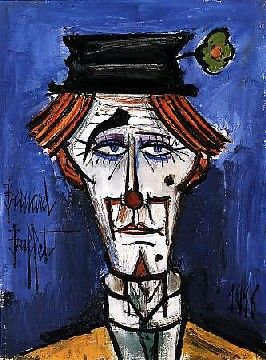 "DiegoVoci™created many versions of Clowns - even some that share Buffet's features. See our CLOWNS GALLERY Board. Shown here is Bernard Buffet's ""Lithograph Tete de Clown"""
