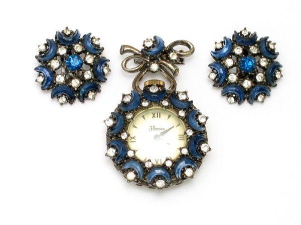Florenza Rare Blue Cresent Watch Demi Parure