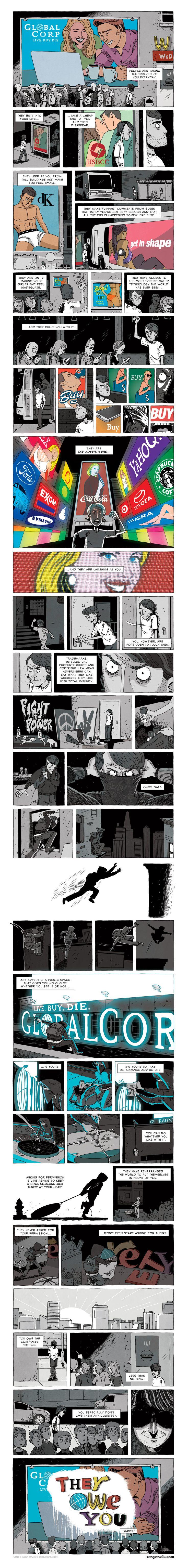 Anti-Corporate Banksy Inspired Comic Art - http://dashburst.com/anti-corporate-banksy-inspired-comic-art/