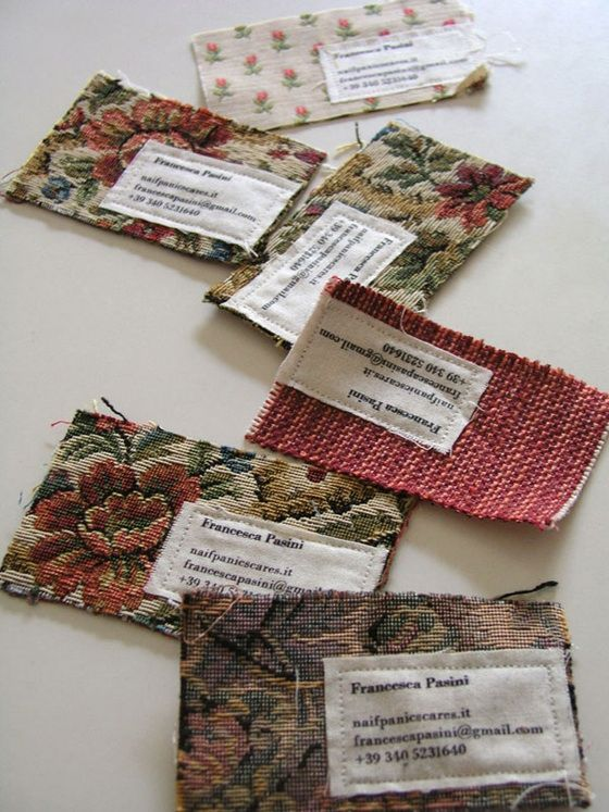 Business cards made out of old fabric samples #fabric #textiles #businesscards