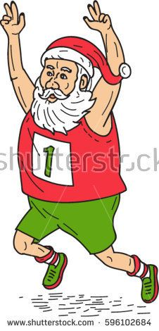Illustration of santa claus saint nicholas father christmas running a marathon raising hands over head set on isolated white background done in cartoon style.   #santaclaus #sketch #illustration