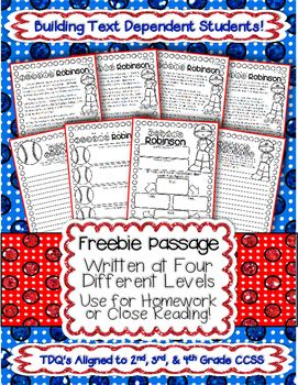 FREE Close Reading Passages- written at 4 levels about Jackie Robinson!