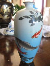 Japanese Ginbari Cloisonne vase c1900 with koi  A/F