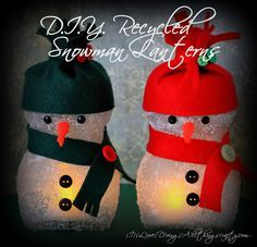 DIY snowman laterns/luminaires from recycled coffee jars - great kids project!