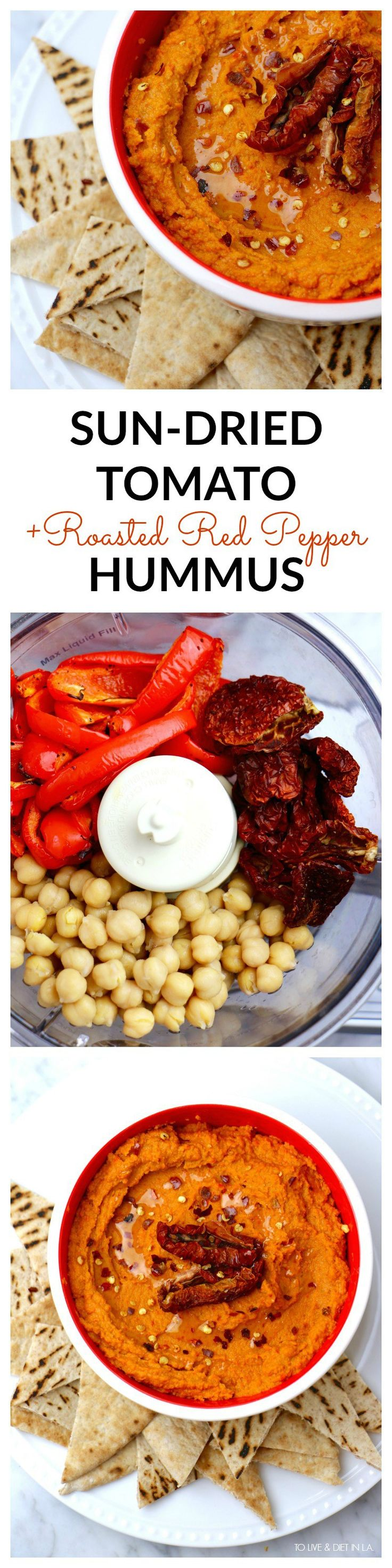 Roasted Red Pepper + Sun-Dried Tomato Hummus - To Live & Diet in LA