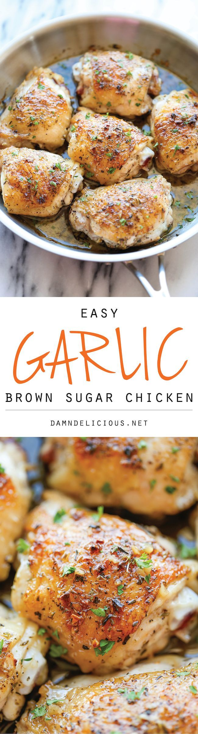 Garlic Brown Sugar Chicken Thighs Recipe  - The best and easiest chicken ever, baked to crisp-tender perfection!