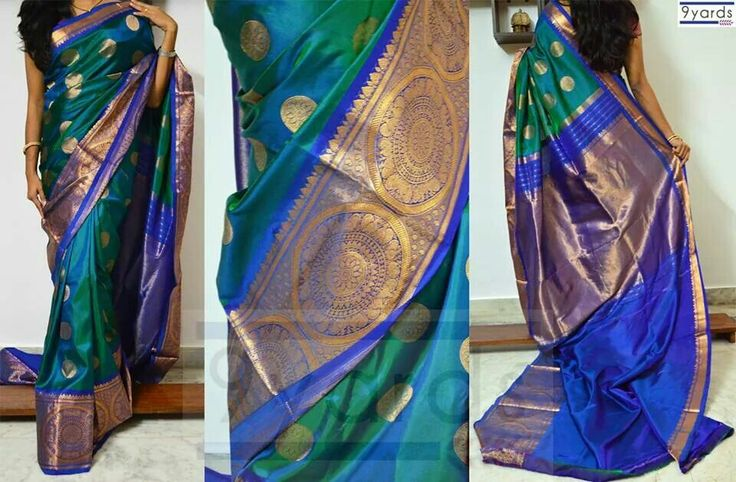 Peacock blue Banarasi silk saree with zari border and all over butties