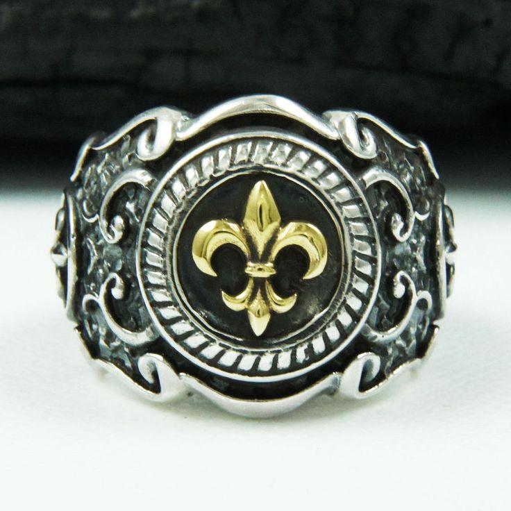 GOLD BRASS FLEUR DE LIS 925 STERLING SILVER US SZ 10 MEN'S BIKER RING tan-r003 #Handmade