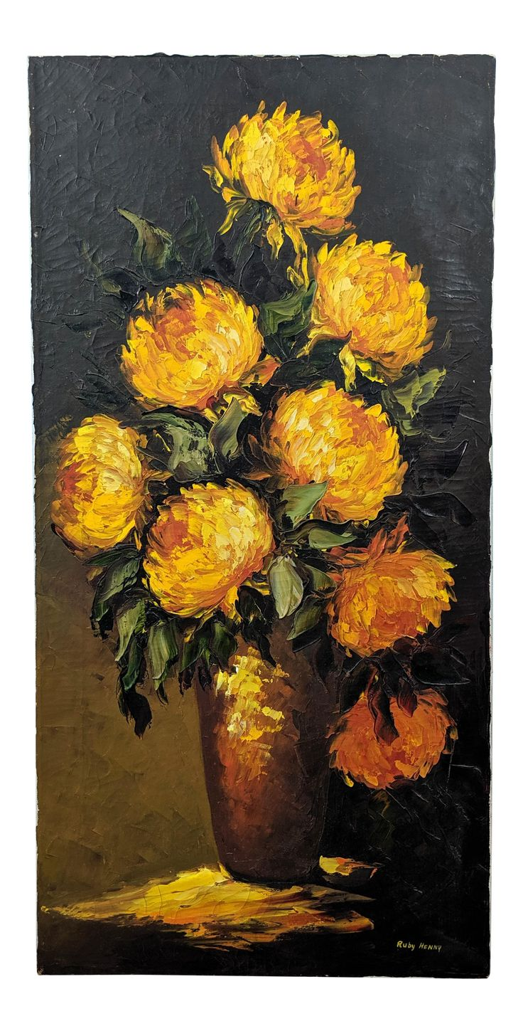 Large midcentury yellow flowers still life oil painting