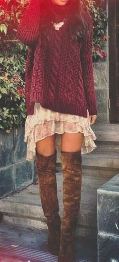 Self- knit over lace tunic with tall boots and leggings #street #style / red knit + knee length boots