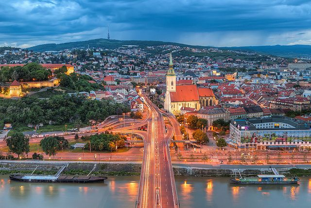 Cityscape of Bratislava, Slovakia.  Bratislava is the capital of Slovakia occupying both banks of the Danube River and the left bank of the Morava River.