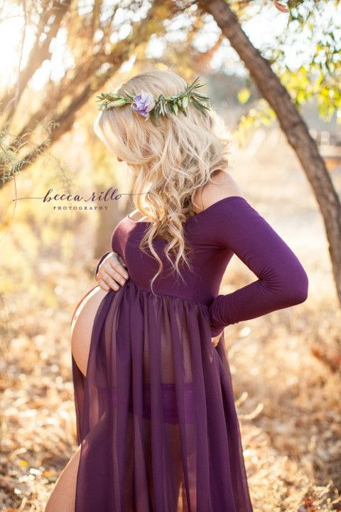 Roxy Gown - Long Sleeve Sheer Chiffon Maxi Style Maternity Gown