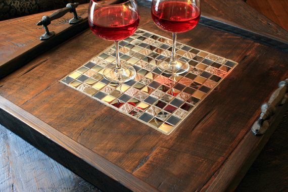 Serving Tray, Mosaic Centerpiece, Reclaimed Wood, Rustic Contemporary, Dark Brown Finish - Handmade