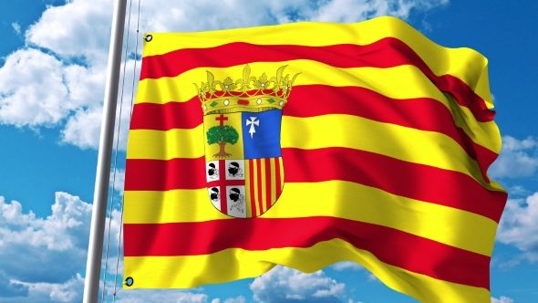 Waving Flag of Aragon an Autonomous Community in Spain