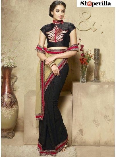 Sparkling Cream & Black Viscose Resham Work Designer Saree-210