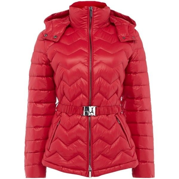 Armani Exchange Belted Padded Puffer Coat In Royal Red (£120) ❤ liked on Polyvore featuring outerwear, coats, sale women coats & jackets, armani exchange, belted puffer coat, belted coat, armani exchange coat and puffer coat