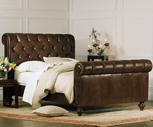 Charles P. Rogers Beds Direct Chesterfield Bed- Chestnut Vintage, Sleigh Beds - Grand in both scale and luxury, our Chesterfield bed blends generous proportions with the warmth and comfort of a rich, supple vintage chestnut full grain leather. It is hand-tufted with matching leather covered buttons. Comfort layers of high resilience foam have been added to ensure that the distinctive shape will