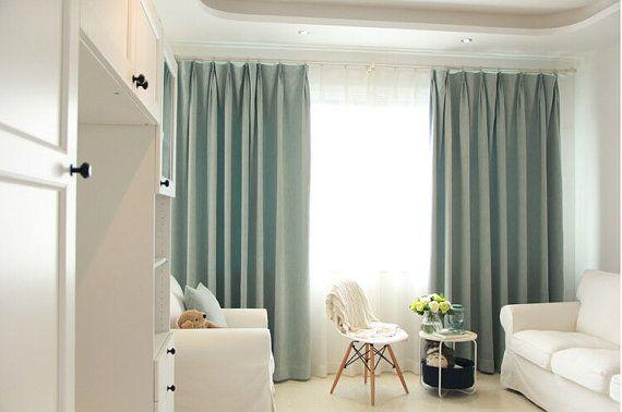 Blue Chenille blackout curtain / insulation curtain custom curtains (all size)