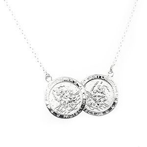 Double St Christopher Protect Us 925 Solid Silver Necklace