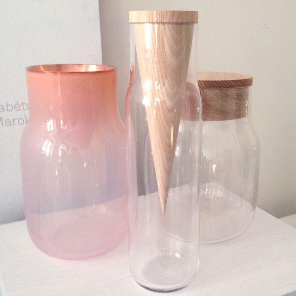 Another top find was Dechem Studio, aka Michaela Tomišková and Jakub Janďourek. With the slogan, 'We tell stories in Bohemian glass,' their combinations of materials and forms were absolutely stunning.