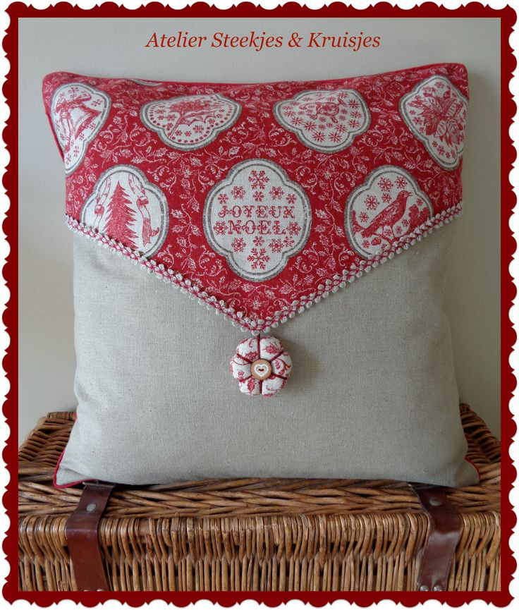 "Christmas pillow made from ""Joyeux Noel"" fabric from French General. Atelier Steekjes & Kruisjes"