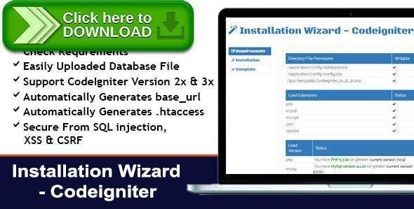 [ThemeForest]Free nulled download Installation Wizard - CodeIgniter from http://zippyfile.download/f.php?id=46271 Tags: ecommerce, App Installer, codeigniter application installer, codeigniter install, codeigniter installation, codeigniter installer, easy installation, install manager, install wizard, installation wizard, installer, php installation, php installer, setup wizard, simple setup